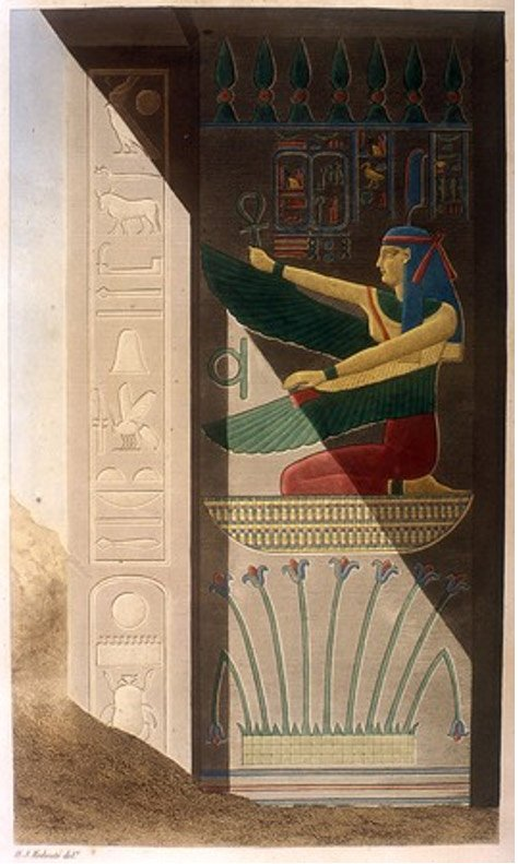 Names of Ramses III; winged Ma'at kneeling over lilies of Upper Egypt. Scene from tomb of Ramses III. By Artist Tresea Dutertre, 1842.