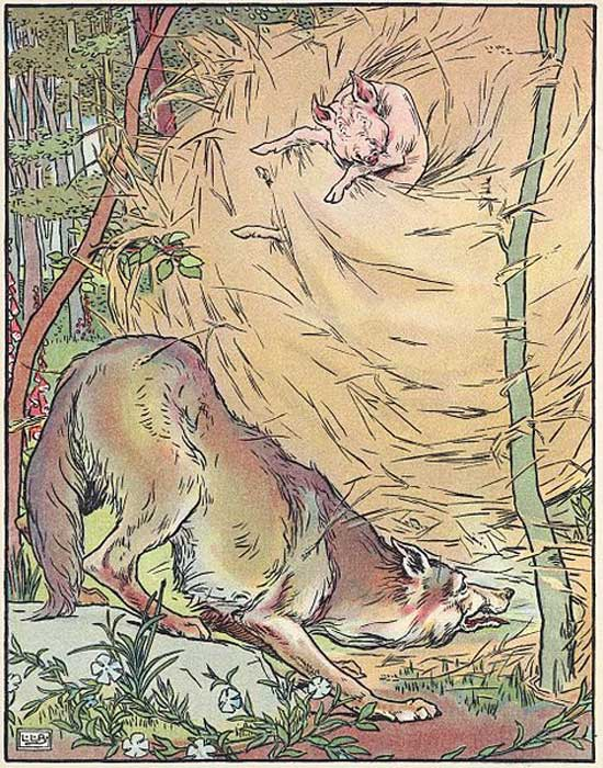 The wolf blows down the straw house in a 1904 adaptation of the fairy tale Three Little Pigs.