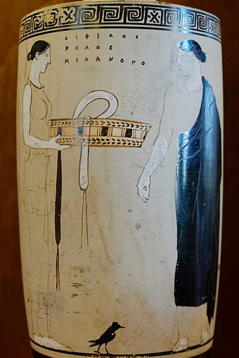 A woman and her maid. Attic white-ground lekythos.