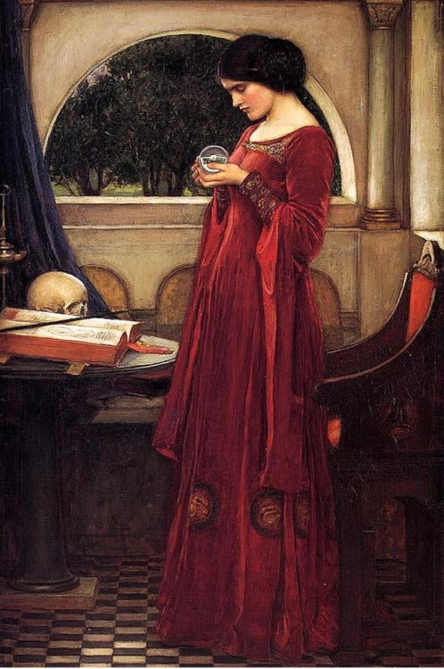 Painting depicting a woman gazing into a crystal ball, perhaps in order to divine the future.