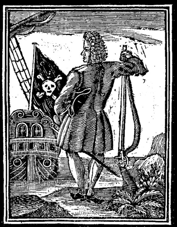 1725 woodcut of Stede Bonnet with a Jolly Roger.