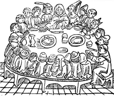 A woodcut of people eating from 'The Canterbury Tales' (1484).