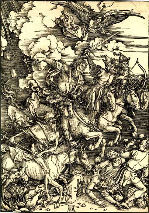 Woodcut by Albrecht Dürer of the Four Horsemen of the Apocalypse. (Heavy Horse / Public Domain)