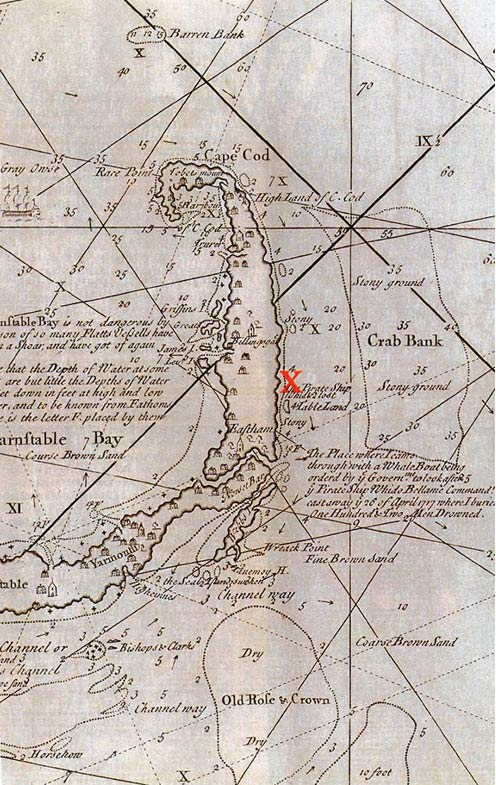 The location of the wrecked Whydah Galley in Cape Cod