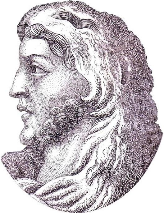Steel engraving of a young Alaric I.