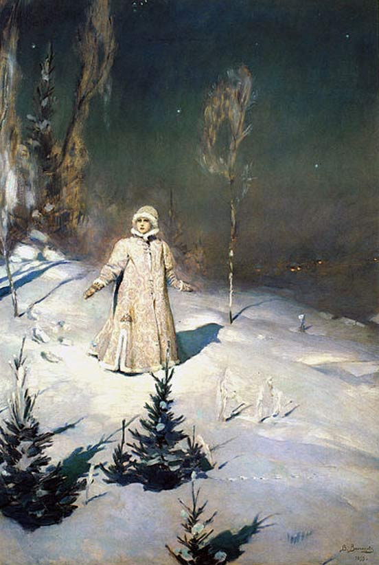 They saw a pretty young girl all dressed in white with flaxen hair and shining blue eyes… Painting of Snow Maiden (1899) by Viktor M. Vasnetsov.