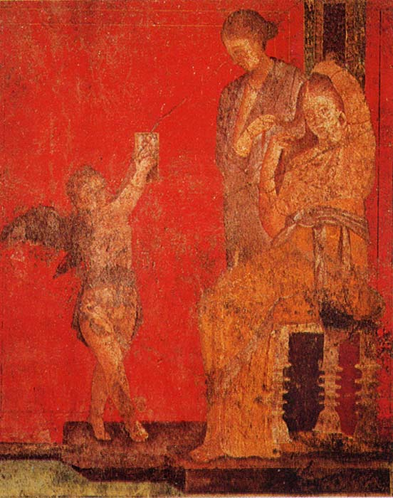 A young woman sits while a servant fixes her hair with the help of a cupid, who holds up a mirror to offer a reflection.